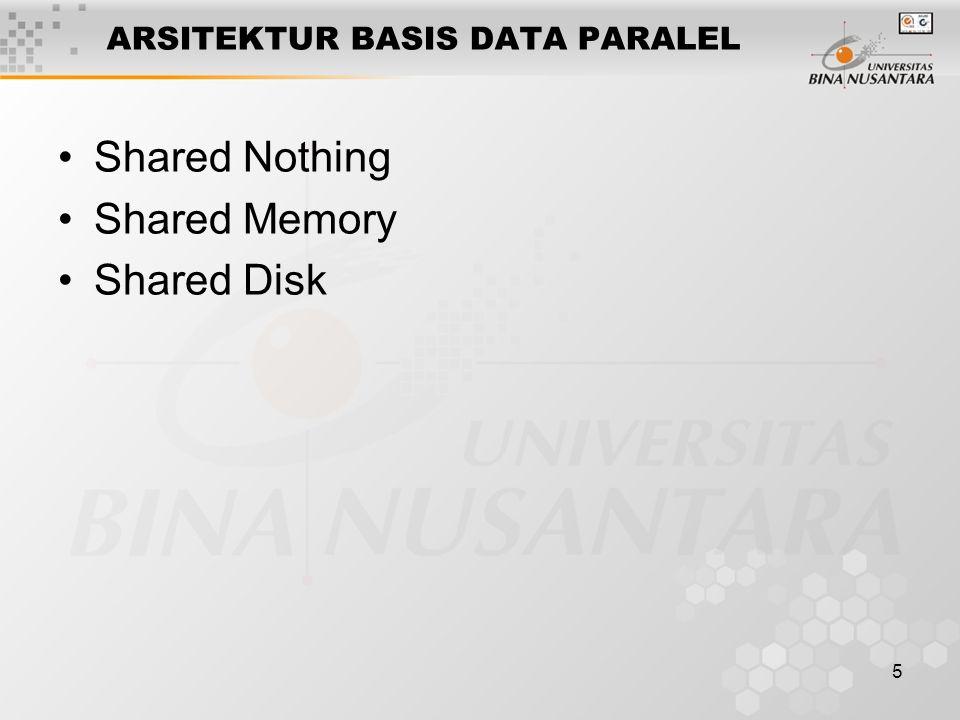 5 ARSITEKTUR BASIS DATA PARALEL Shared Nothing Shared Memory Shared Disk