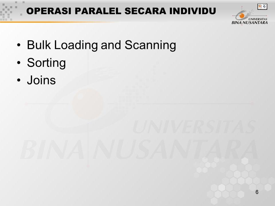 6 OPERASI PARALEL SECARA INDIVIDU Bulk Loading and Scanning Sorting Joins