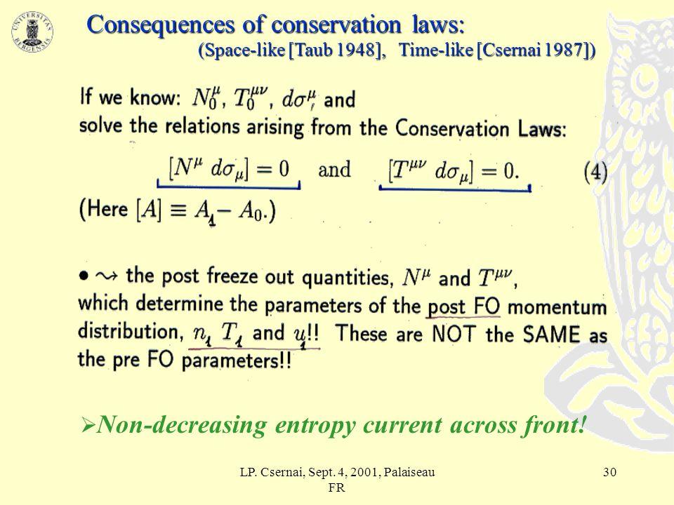 LP. Csernai, Sept. 4, 2001, Palaiseau FR 29 Cooper-Frye formula