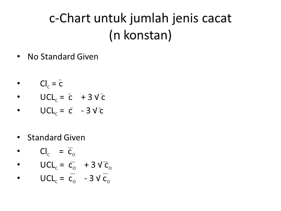c-Chart untuk jumlah jenis cacat (n konstan) No Standard Given Cl c = c UCL c = c + 3 √ c UCL c = c - 3 √ c Standard Given Cl c = c o UCL c = c o + 3 √ c o UCL c = c o - 3 √ c o