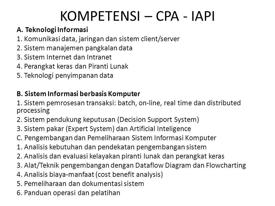 KOMPETENSI – CPA - IAPI A. Teknologi Informasi 1. Komunikasi data, jaringan dan sistem client/server 2. Sistem manajemen pangkalan data 3. Sistem Inte