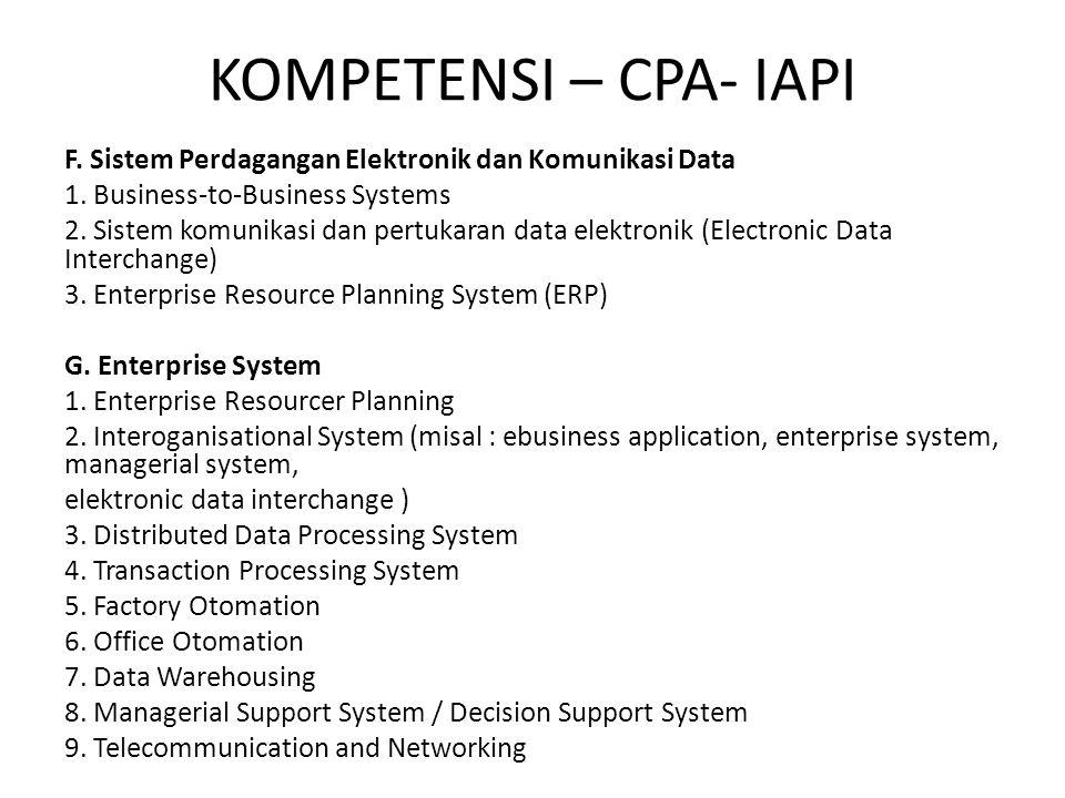 KOMPETENSI – CPA- IAPI F. Sistem Perdagangan Elektronik dan Komunikasi Data 1. Business-to-Business Systems 2. Sistem komunikasi dan pertukaran data e