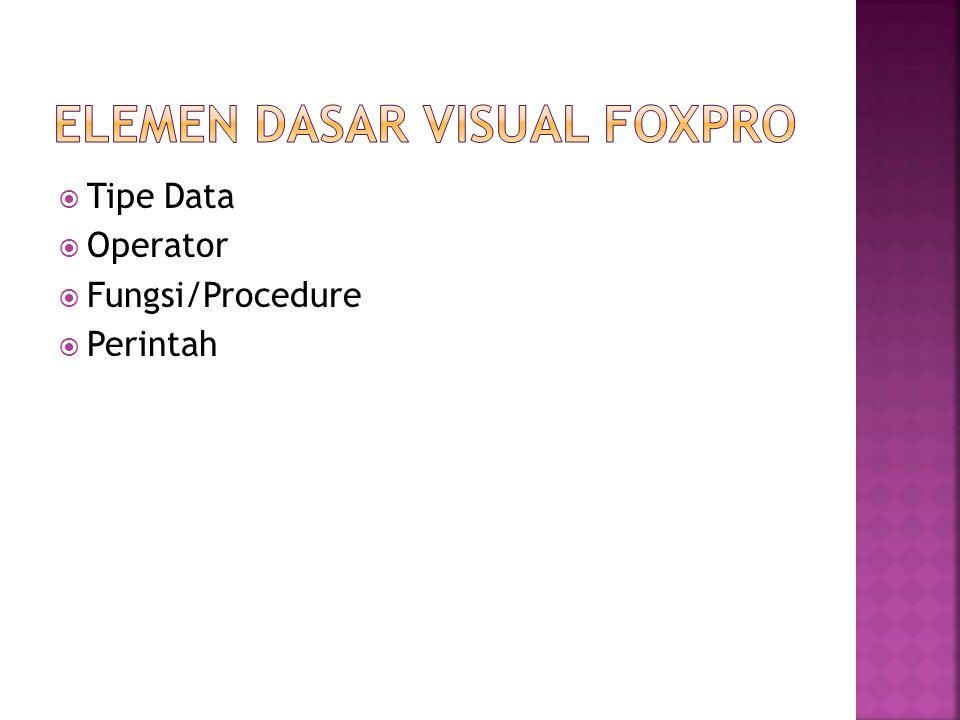  Tipe Data  Operator  Fungsi/Procedure  Perintah