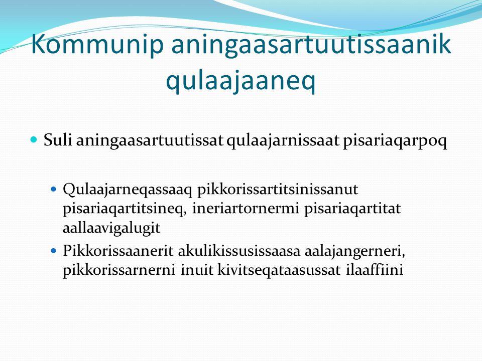 Kommunip aningaasartuutissaanik qulaajaaneq Suli aningaasartuutissat qulaajarnissaat pisariaqarpoq Qulaajarneqassaaq pikkorissartitsinissanut pisariaqartitsineq, ineriartornermi pisariaqartitat aallaavigalugit Pikkorissaanerit akulikissusissaasa aalajangerneri, pikkorissarnerni inuit kivitseqataasussat ilaaffiini
