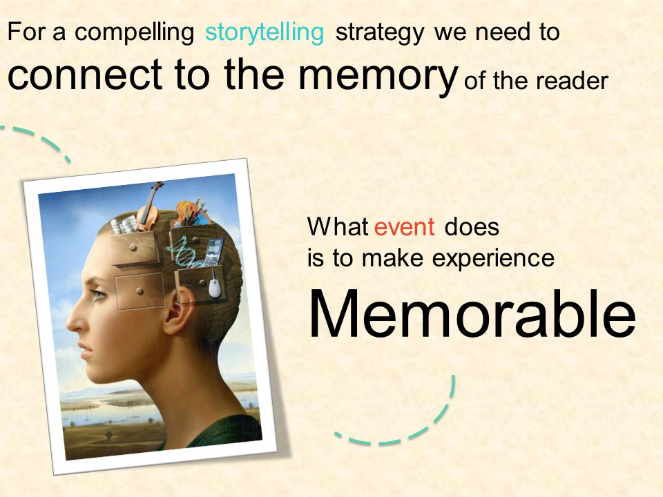 For a compelling storytelling strategy we need to connect to the memory of the reader What event does is to make experience Memorable