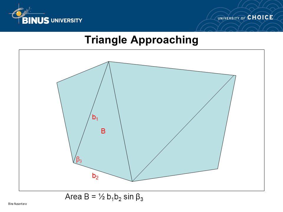 Bina Nusantara Triangle Approaching B b1b1b1b1 b2b2b2b2 β3β3β3β3 Area B = ½ b 1 b 2 sin β 3