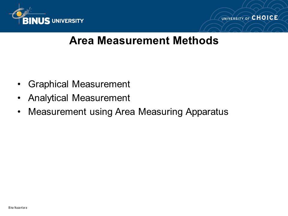 Bina Nusantara Area Measurement Methods Graphical Measurement Analytical Measurement Measurement using Area Measuring Apparatus