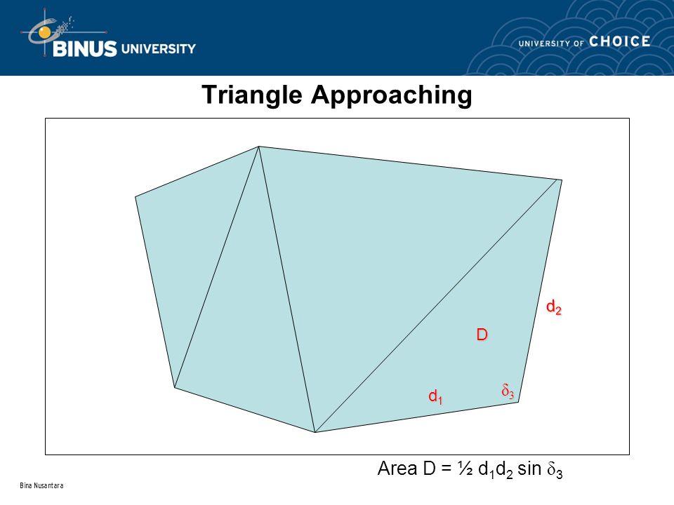 Bina Nusantara Triangle Approaching D d2d2d2d2 d1d1d1d1 δ3δ3δ3δ3 Area D = ½ d 1 d 2 sin δ 3