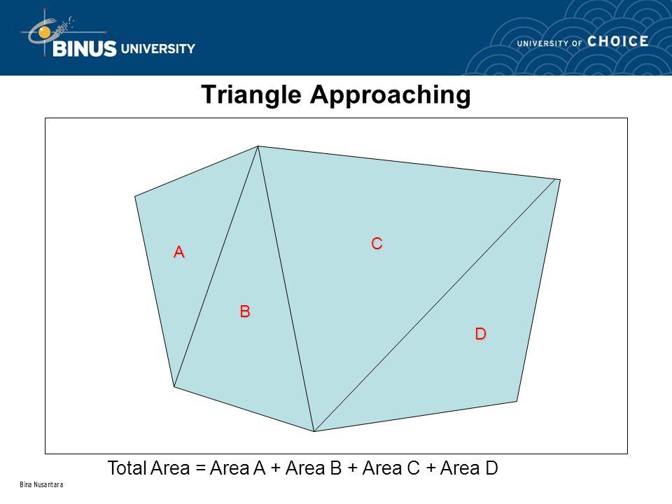 Bina Nusantara Triangle Approaching A B C D Total Area = Area A + Area B + Area C + Area D