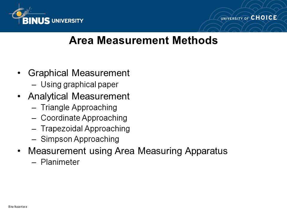 Bina Nusantara Area Measurement Methods Graphical Measurement –Using graphical paper Analytical Measurement –Triangle Approaching –Coordinate Approach
