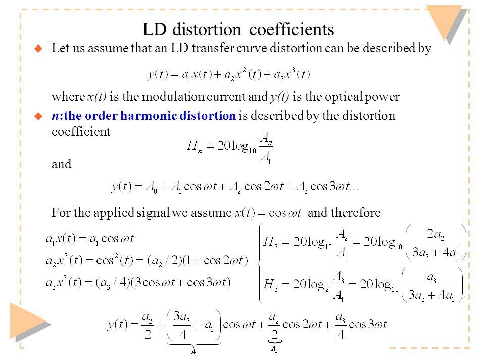 Timo O. Korhonen, HUT Communication Laboratory LD distortion coefficients u Let us assume that an LD transfer curve distortion can be described by whe