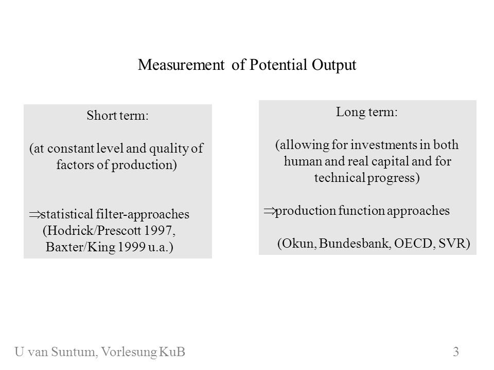 WS 2006/07 3 Measurement of Potential Output U.