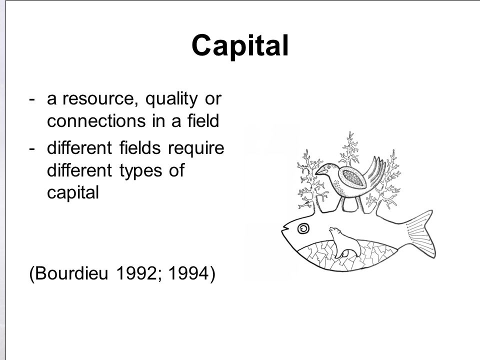 Capital -a resource, quality or connections in a field -different fields require different types of capital (Bourdieu 1992; 1994)