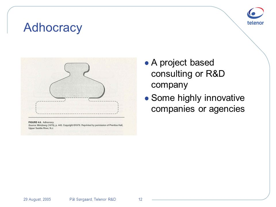 29 August, 2005Pål Sørgaard, Telenor R&D12 Adhocracy l A project based consulting or R&D company l Some highly innovative companies or agencies