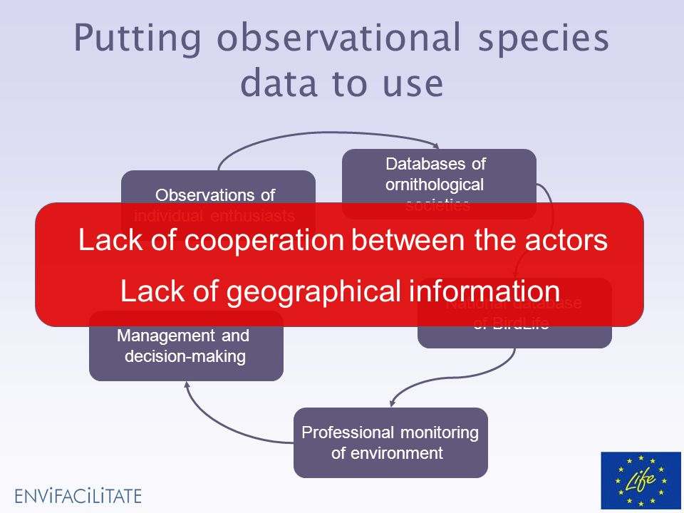 Observations of individual enthusiasts Databases of ornithological societies National database of BirdLife Professional monitoring of environment Management and decision-making Putting observational species data to use Lack of cooperation between the actors Lack of geographical information