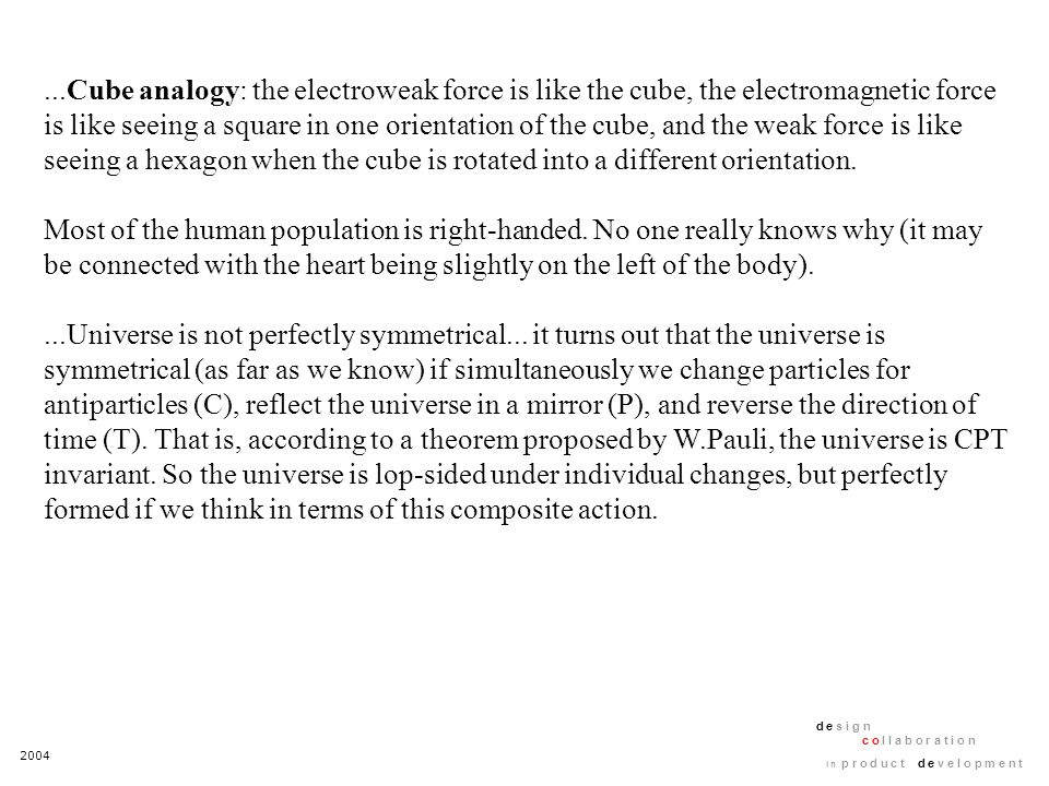 2004 d e s i g n c o l l a b o r a t i o n i n p r o d u c t d e v e l o p m e n t...Cube analogy: the electroweak force is like the cube, the electro