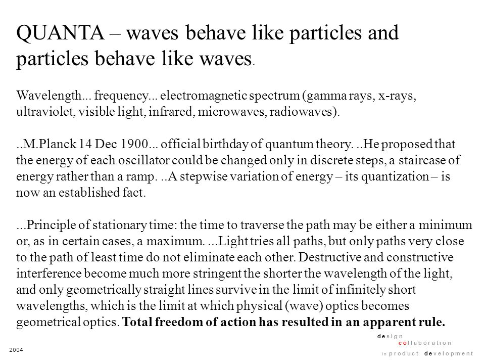 2004 d e s i g n c o l l a b o r a t i o n i n p r o d u c t d e v e l o p m e n t QUANTA – waves behave like particles and particles behave like waves.