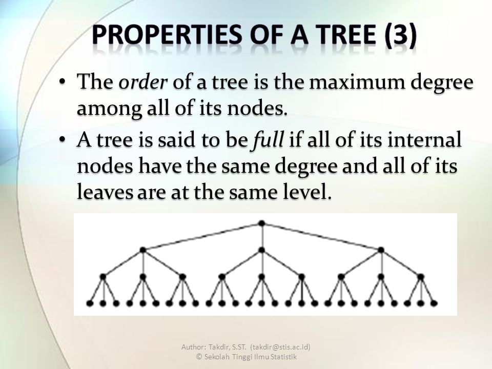 The order of a tree is the maximum degree among all of its nodes.