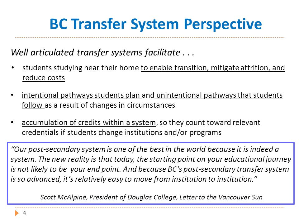 Transfer Student Success  BC transfer students...