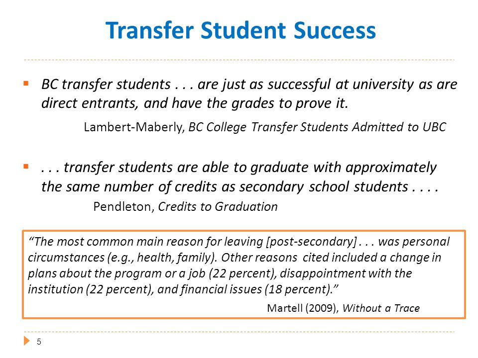  Student Performance Reports  Transfer Satisfaction and Success  Admissions and Transfer Practices  Student Transitions Project (STP) http://www.bccat.bc.ca/publications/ It seems unlikely...