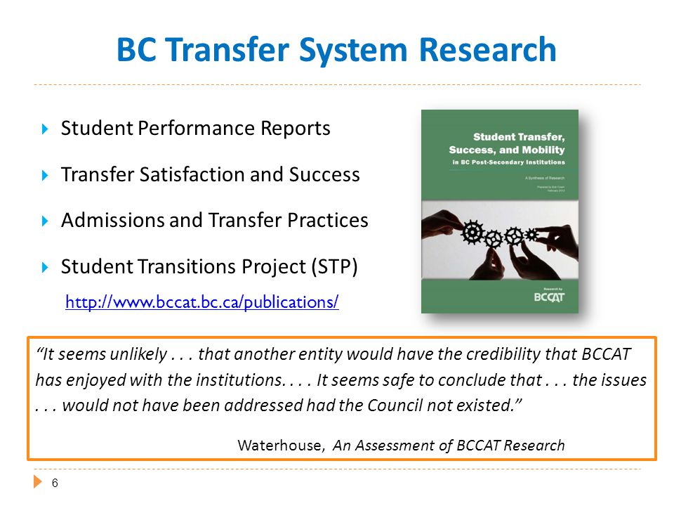  Student Performance Reports  Transfer Satisfaction and Success  Admissions and Transfer Practices  Student Transitions Project (STP) http://www.bccat.bc.ca/publications/ It seems unlikely...