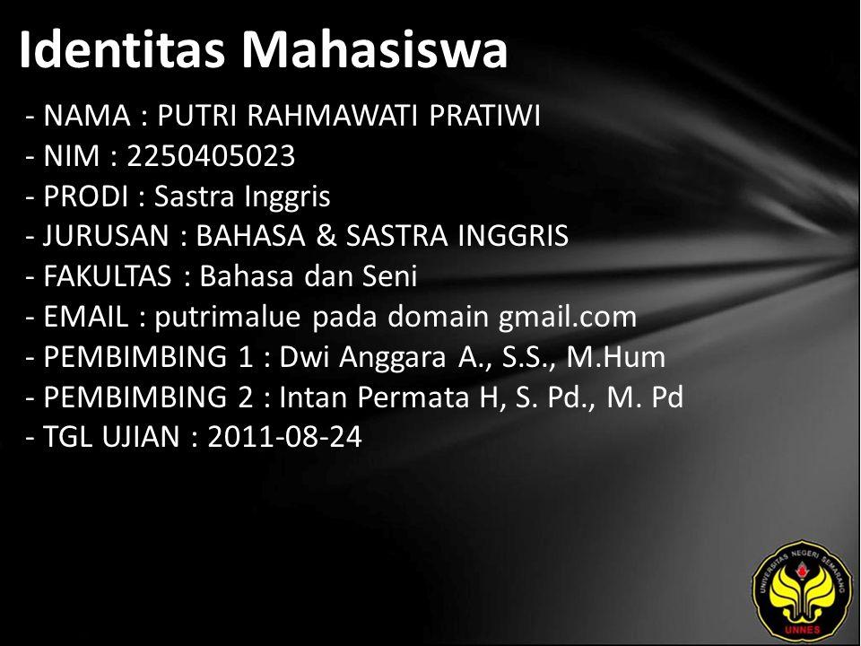 Identitas Mahasiswa - NAMA : PUTRI RAHMAWATI PRATIWI - NIM : 2250405023 - PRODI : Sastra Inggris - JURUSAN : BAHASA & SASTRA INGGRIS - FAKULTAS : Bahasa dan Seni - EMAIL : putrimalue pada domain gmail.com - PEMBIMBING 1 : Dwi Anggara A., S.S., M.Hum - PEMBIMBING 2 : Intan Permata H, S.