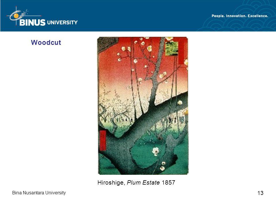 Bina Nusantara University 13 Hiroshige, Plum Estate 1857 Woodcut