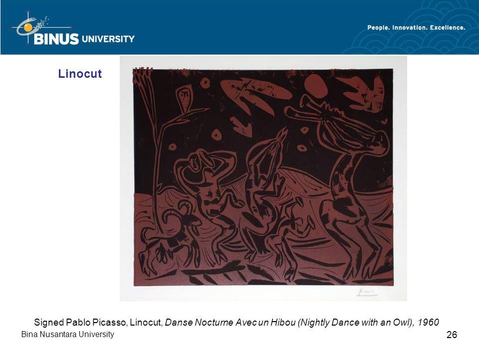 Bina Nusantara University 26 Signed Pablo Picasso, Linocut, Danse Nocturne Avec un Hibou (Nightly Dance with an Owl), 1960 Linocut