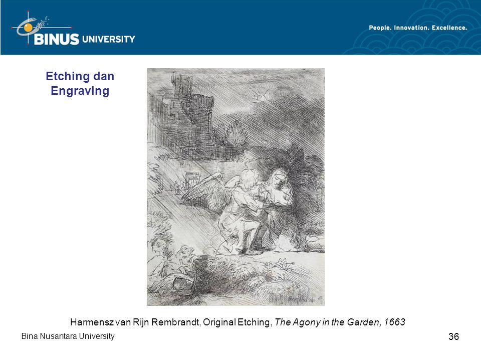 Bina Nusantara University 36 Harmensz van Rijn Rembrandt, Original Etching, The Agony in the Garden, 1663 Etching dan Engraving