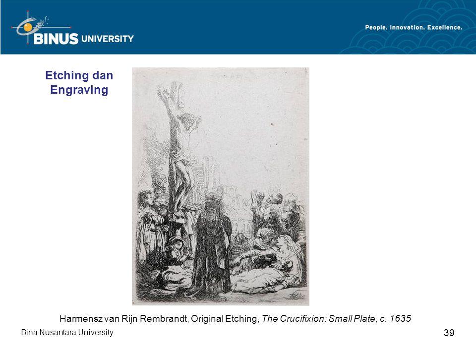 Bina Nusantara University 39 Harmensz van Rijn Rembrandt, Original Etching, The Crucifixion: Small Plate, c.