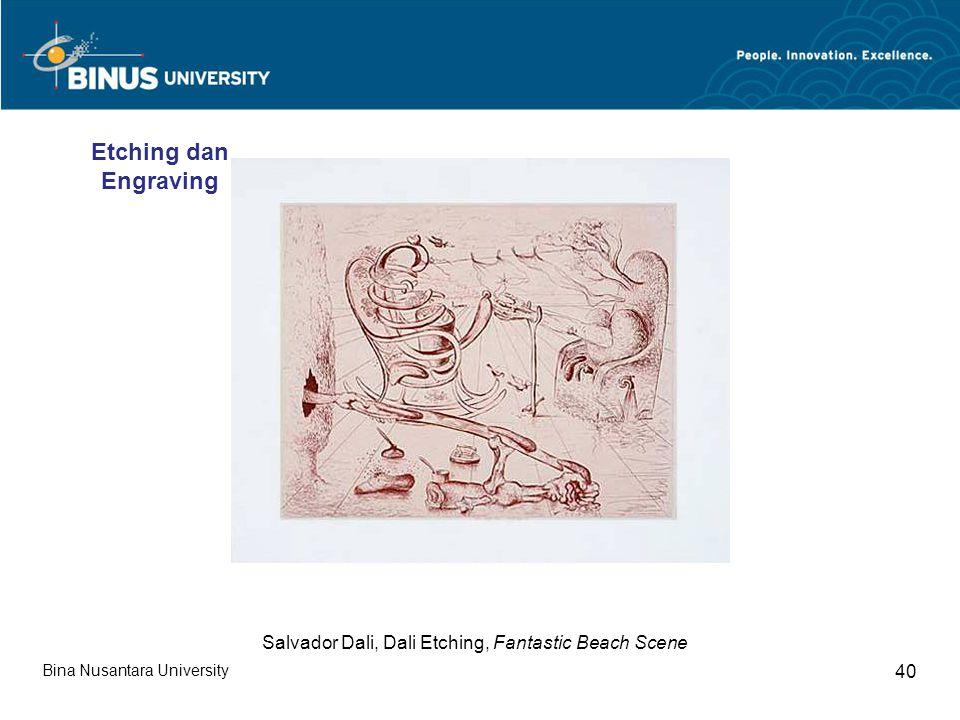 Bina Nusantara University 40 Salvador Dali, Dali Etching, Fantastic Beach Scene Etching dan Engraving