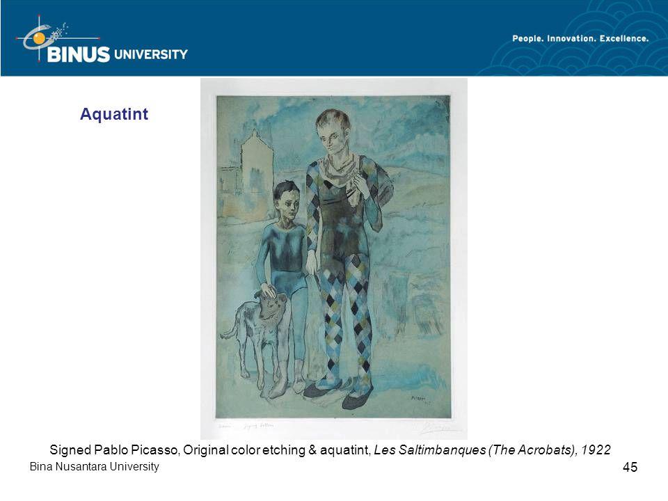 Bina Nusantara University 45 Signed Pablo Picasso, Original color etching & aquatint, Les Saltimbanques (The Acrobats), 1922 Aquatint