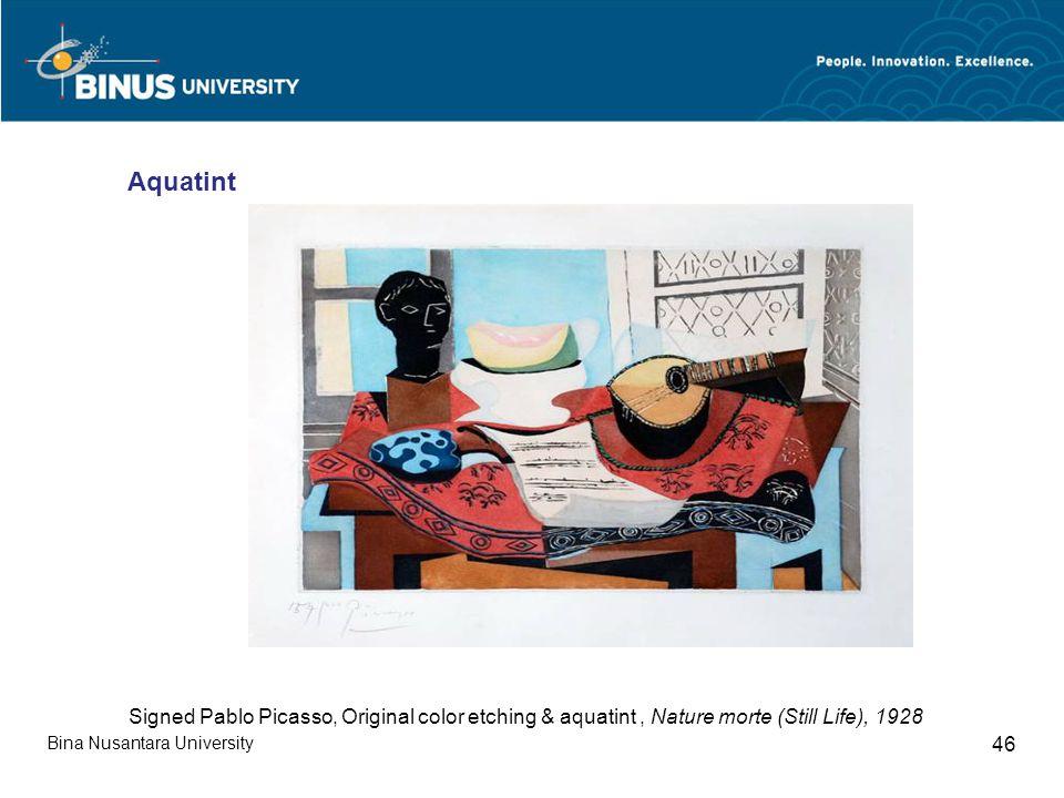 Bina Nusantara University 46 Signed Pablo Picasso, Original color etching & aquatint, Nature morte (Still Life), 1928 Aquatint