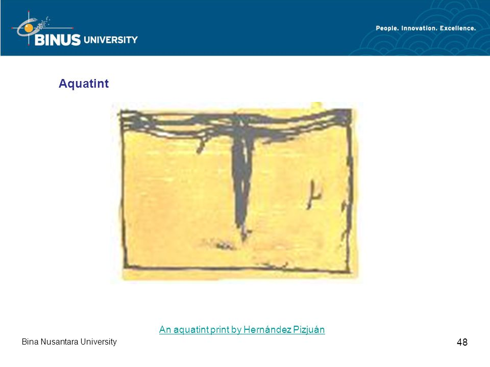 Bina Nusantara University 48 Aquatint An aquatint print by Hernández Pizjuán