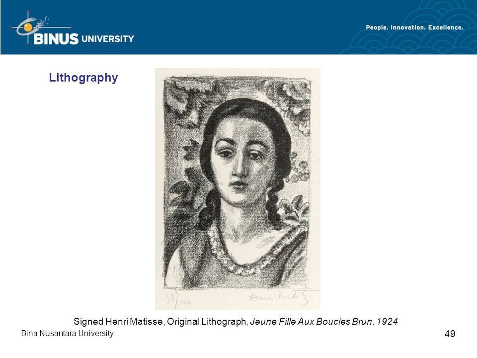 Bina Nusantara University 49 Signed Henri Matisse, Original Lithograph, Jeune Fille Aux Boucles Brun, 1924 Lithography