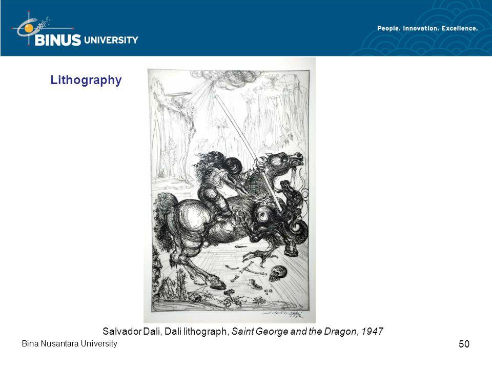 Bina Nusantara University 50 Salvador Dali, Dali lithograph, Saint George and the Dragon, 1947 Lithography