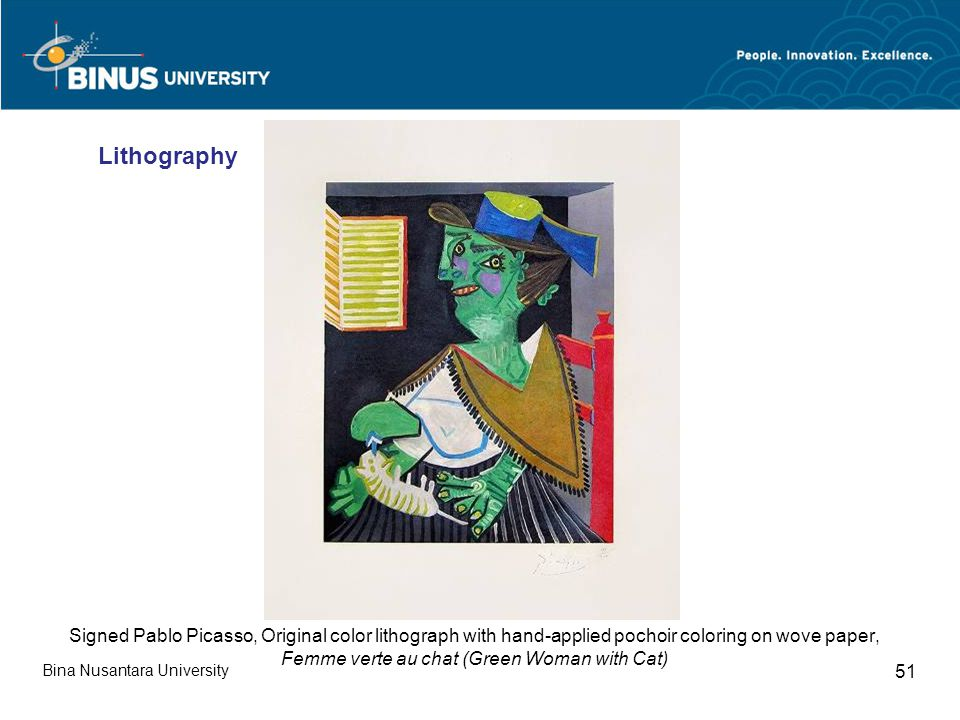 Bina Nusantara University 51 Signed Pablo Picasso, Original color lithograph with hand-applied pochoir coloring on wove paper, Femme verte au chat (Green Woman with Cat) Lithography