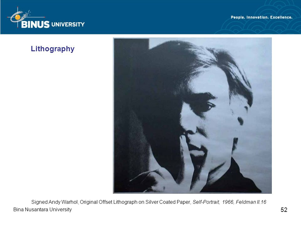 Bina Nusantara University 52 Signed Andy Warhol, Original Offset Lithograph on Silver Coated Paper, Self-Portrait, 1966, Feldman II.16 Lithography
