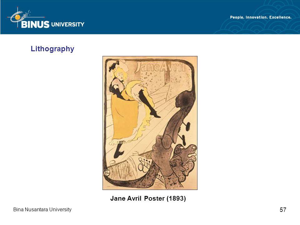 Bina Nusantara University 57 Lithography Jane Avril Poster (1893)