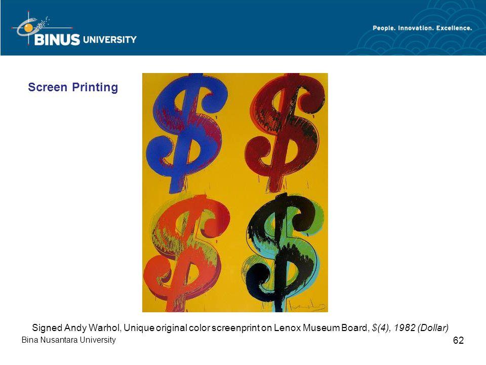 Bina Nusantara University 62 Signed Andy Warhol, Unique original color screenprint on Lenox Museum Board, $(4), 1982 (Dollar) Screen Printing