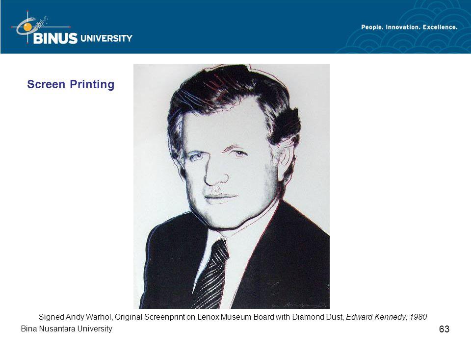Bina Nusantara University 63 Signed Andy Warhol, Original Screenprint on Lenox Museum Board with Diamond Dust, Edward Kennedy, 1980 Screen Printing
