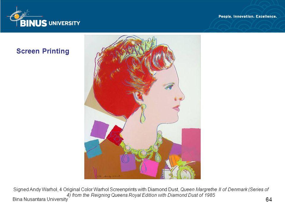 Bina Nusantara University 64 Signed Andy Warhol, 4 Original Color Warhol Screenprints with Diamond Dust, Queen Margrethe II of Denmark (Series of 4) f