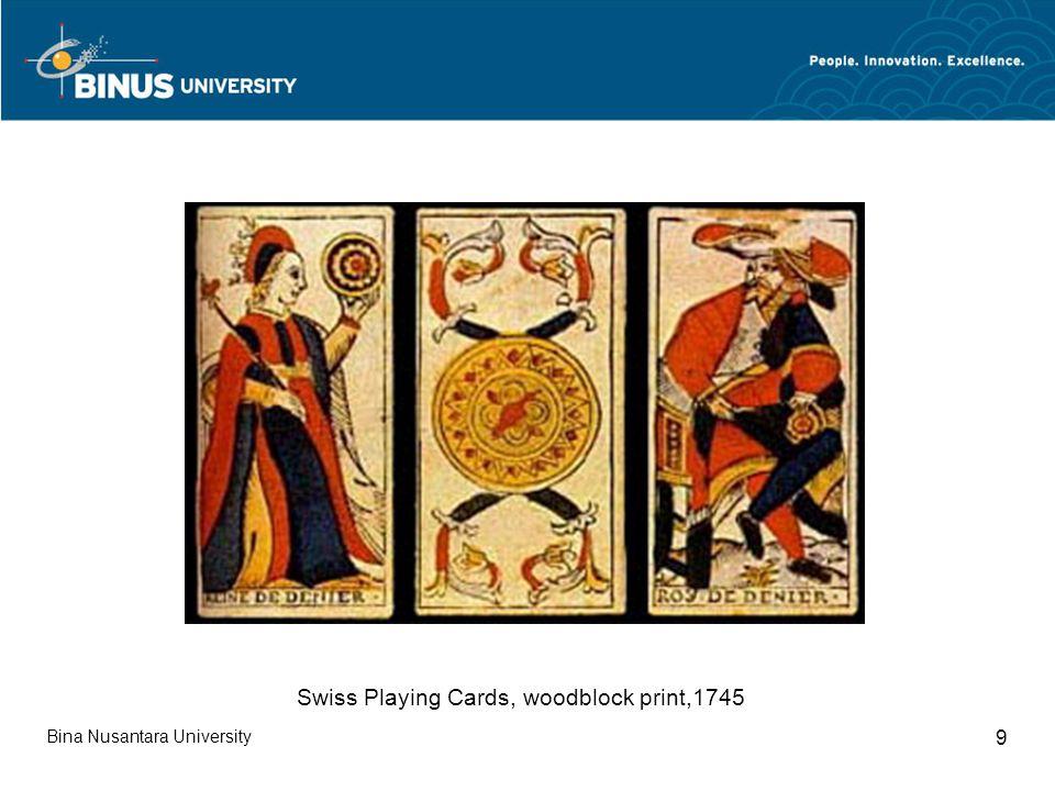 Bina Nusantara University 9 Swiss Playing Cards, woodblock print,1745