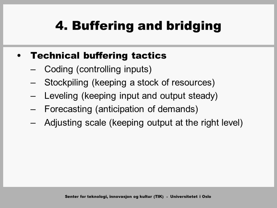 Senter for teknologi, innovasjon og kultur (TIK) - Universitetet i Oslo 4. Buffering and bridging Technical buffering tactics –Coding (controlling inp