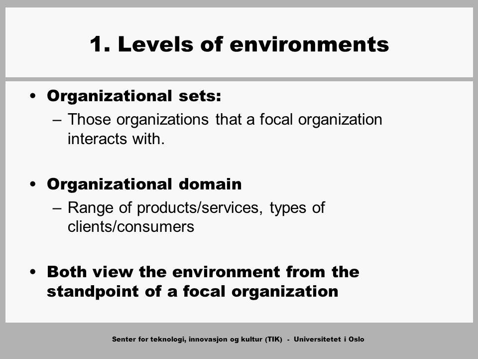 Senter for teknologi, innovasjon og kultur (TIK) - Universitetet i Oslo 1. Levels of environments Organizational sets: –Those organizations that a foc