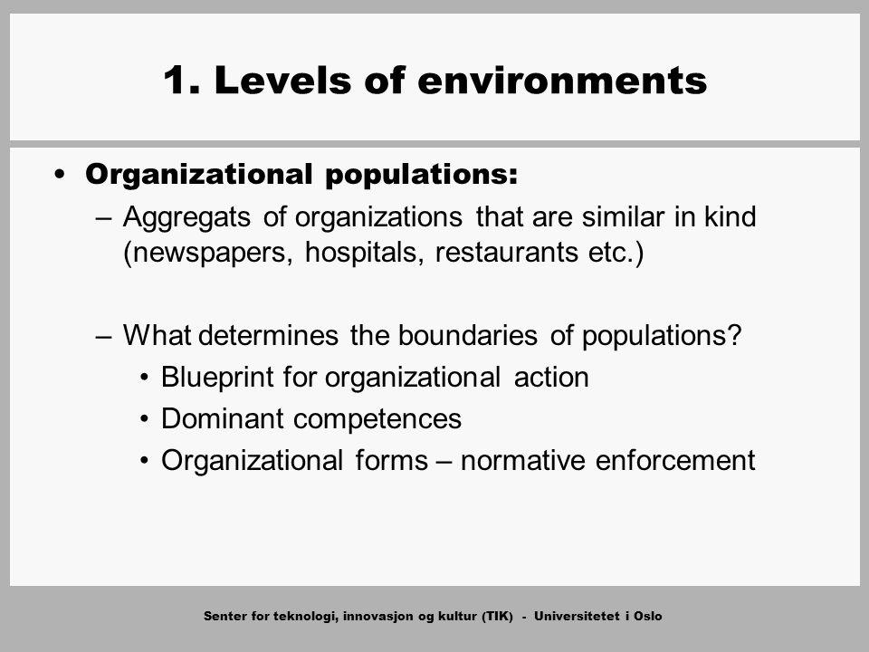 Senter for teknologi, innovasjon og kultur (TIK) - Universitetet i Oslo 1. Levels of environments Organizational populations: –Aggregats of organizati
