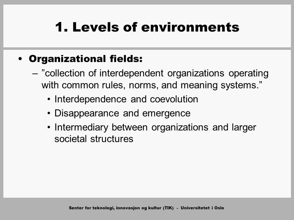"""Senter for teknologi, innovasjon og kultur (TIK) - Universitetet i Oslo 1. Levels of environments Organizational fields: –""""collection of interdependen"""