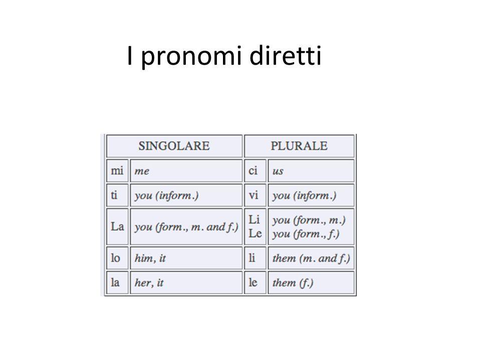I pronomi diretti
