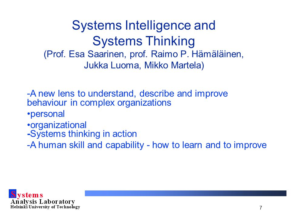 7 Systems Intelligence and Systems Thinking (Prof.