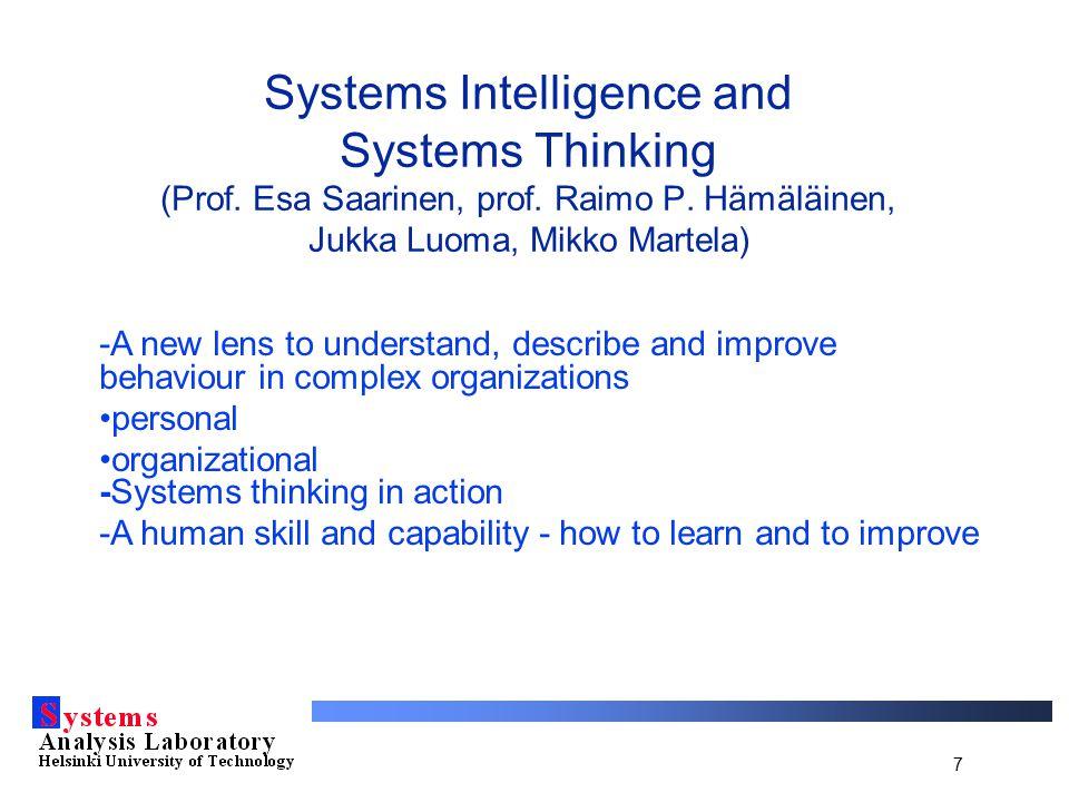 7 Systems Intelligence and Systems Thinking (Prof. Esa Saarinen, prof. Raimo P. Hämäläinen, Jukka Luoma, Mikko Martela) -A new lens to understand, des